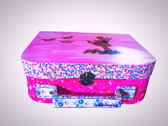 glamorous pink suitcase in deco box box girl to order