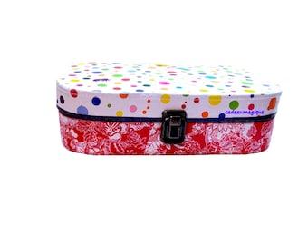 vintage cardboard suitcase - multicolored peas - chick deco - gift box - child