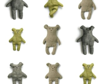 ECO toy-bear-toy animal-stuffed bear-stuffed animal-eco friendly toy-custom toy-linen-eddy bear baby-baby-toys-embroidered-natural toy