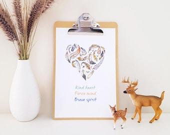 Kind, Fierce, Brave Art Print, Feather heart, Kind heart, fierce mind, brave spirit painting, nursery art, baby shower gift, wall art