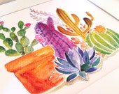 Cactus Watercolor Art Print, cacti, desert, succulent, Arizona, South America, boho, bohemian, office art, arid, spines, aloe vera, Texas,