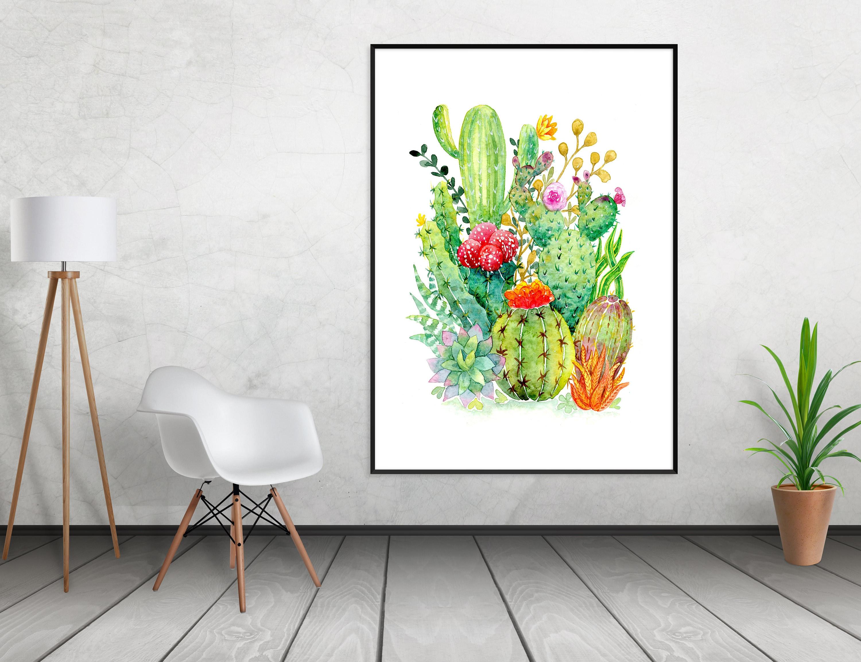Succulent Wall Art Succulent Watercolor Hand Painted Original Artwork Succulent Decor Cactus Artwork Cactus Home Decor