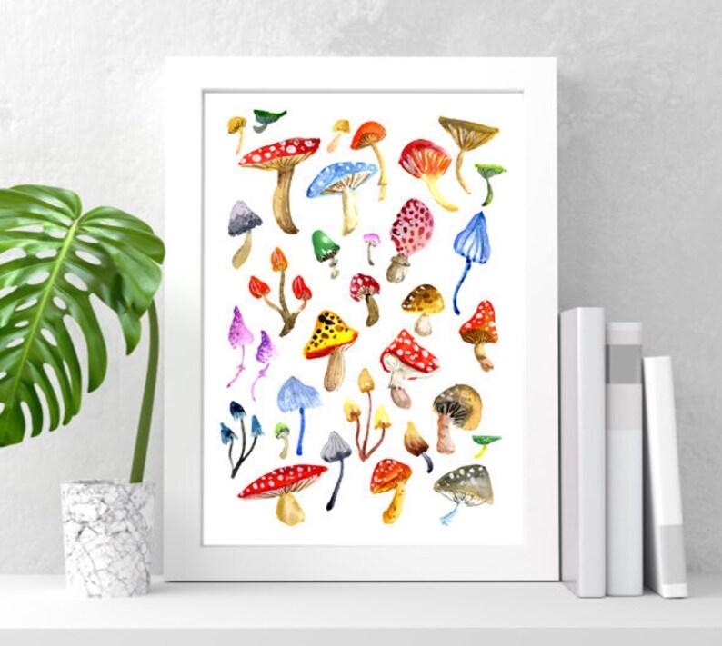 Toadstools & Mushrooms Art Print Colourful Watercolor Wall image 0