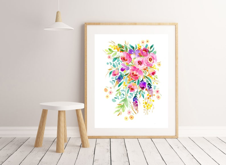 Flower Painting Art Print watercolour bright bunch of image 0