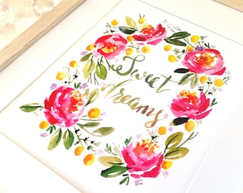 Sweet Dreams Floral Wreath Watercolour Print, home decor, wall art, flowers, roses, new baby gift, baby girl, nursery art, baby shower