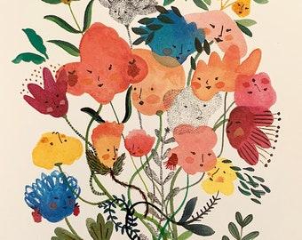 Hey Sisters! Greeting card / invitation card - Original illustration by Nana Sakata
