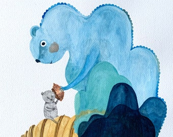Can you hear the ocean sing? - Original Watercolour and ink illustration by Nana Sakata