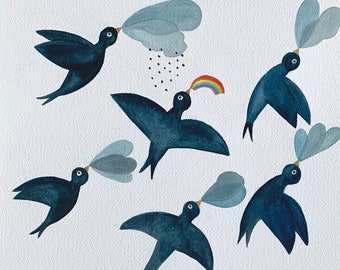 Chasing the rainbow - Original Watercolour and ink illustration by Nana Sakata