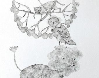 A cat, an owl and a cloudy lion - Original Pointillism Drawing by Nana Sakata