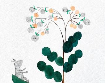 Flower talk #2 - Original watercolour and ink drawing by Nana Sakata