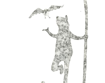 """Hi there! - Original framed art work / black and white ink """"dot"""" illustration with Monkey and flowers by Nana Sakata"""