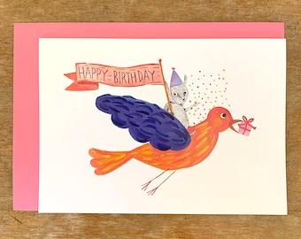 Happy birthday, Confetti for all!  Birthday card / birthday invitation - Original illustration by Nana Sakata