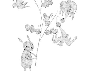 Gum nuts bird - Origianl Pointillism art by Nana Sakata