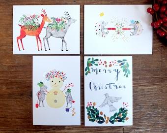 Pack of 10 Mix Christmas cards - 4 original illustrations by Nana Sakata