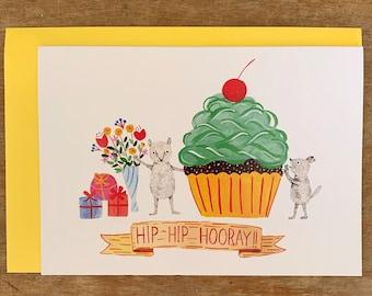 Hip Hip Hooray! - Birthday greeting card / Birthday invitation - Original illustration by Nana Sakata