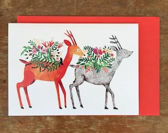 Deer, deer Christmas card / invitation card - Original Illustration by Nana Sakata