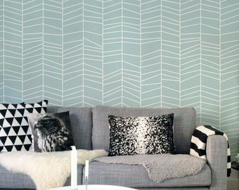 Delicate Herringbone - Blue - Adhesive Wallpaper - Removable Wallpaper - Wall Sticker - Wall Mural - Customizable Wallpaper