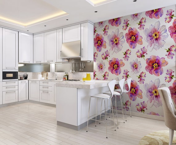 Watercolor Flowers Pink And Purple Wallpaper Removable