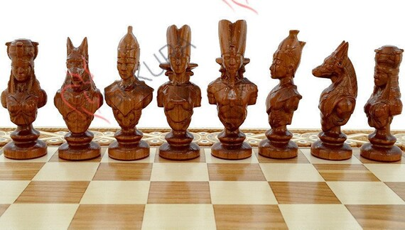 Luxury Chess Backgammon Game Unique Chess Pieces Egypt Etsy