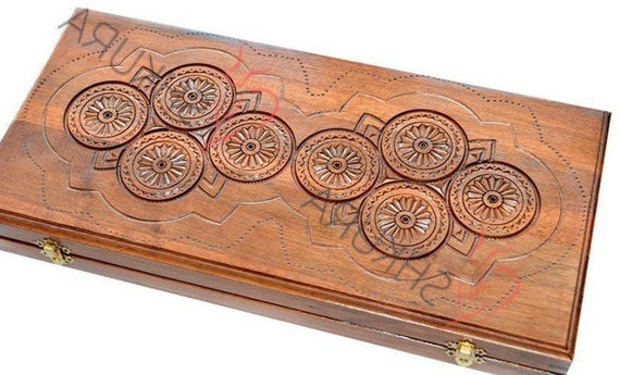 "17/"" Classic Board Game Backgammon Set Brown Wooden Portable US Seller"