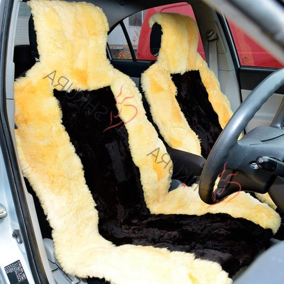 Wondrous Black Yellow Sheepskin Car Seat Cover 2 Pcs Car Accessory For Men Fur Seat Cover For Women Merino Front Seat Cover For Car Gift For Him Alphanode Cool Chair Designs And Ideas Alphanodeonline