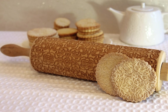 Gift for Mother Embossed Rolling Pin Gift for Her Engraved Rolling Pin Flowers Swirls Christmas Gift Big Gift for Grandmother