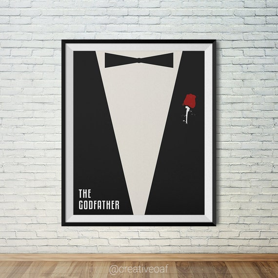 The Godfather movie poster with red rose. Wall art printable | Etsy