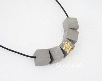 Concrete Necklace-Necklace-cubes-cube-Sheet Metal Gold-* Concrete-Original *-Gift-