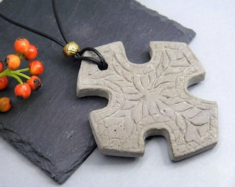 Necklace Concrete Cross-statement-large cross with ornaments-gift-