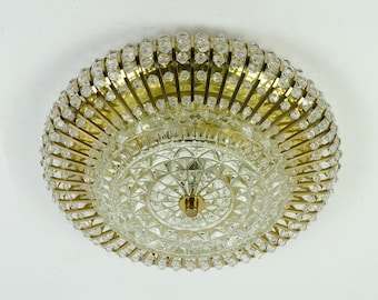 glamouros 1960s palwa CEILING LAMP ceiling fixture brass and glass hollywood regency style