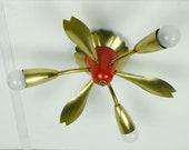 1950s mid century sputnik ceiling lamp 3 arms brass and red metal