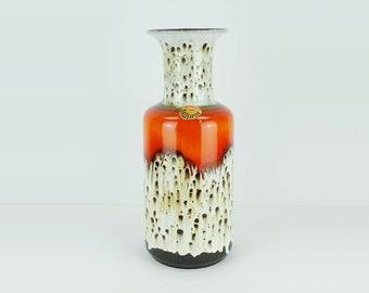 vintage VASE floorvase jasba model N 602 10 45 drip glaze orange white brown jasba exquisit
