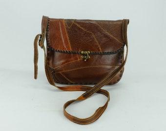 43365d48a8f 1970s 80s SHOULDER BAG patchwork leather boho hippie festival bag
