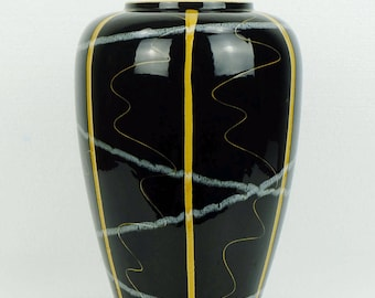 scheurich late 1950s mid century VASE black with ochre and grey model 239-30