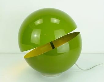 ball-shaped TABLE LAMP sfera lumess design andrea modica green metal around 2000