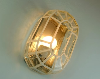 1960s 70s mid century WALL LAMP sconce clear glass geometric design heinrich popp leuchten