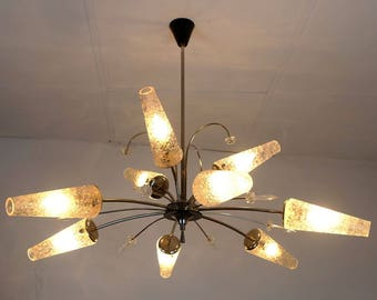french 1950s 9-light sputnik CHANDELIER metal glass and lucite
