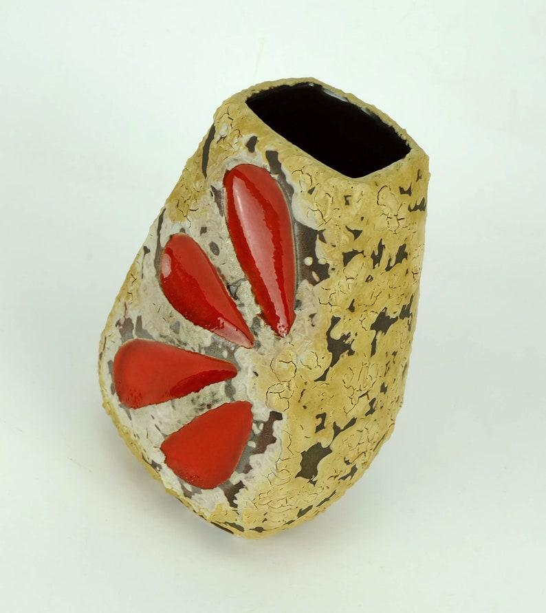 mid century fat lava VASE es-keramik WGP brown beige glaze red leaf pattern