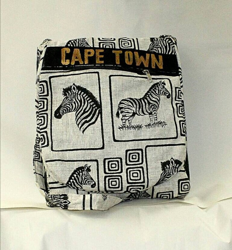 Black And White South African Bags Cape Town Tourism Gym Bags Zebra Print On African Shweshwe Unique Artwork From Africa Thank You Gifts