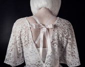 Odette Top, Bridal, Bat Wing, Open Back, Silk Ribbon, Lace, Bridesmaid, Gothic, Alternative, Edgy, Separates, Ivory, Cover Up, Bralet,