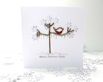Christmas Card frosted tree, Personalised Handmade christmas card, Festive twig tree winter robin seasonal card.