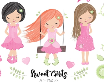 BUY5GET5 Sweet Girls Clipart, Watercolor girls digital clipart, country girls clipart, flowers, toadstools, digital images, digital clip art