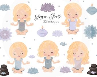 BUY5GET5 Blonde Yoga Girls Clipart, Meditation clipart, lotus flower image, yoga illustration, mandala, Meditating Girl, Mandala clipart