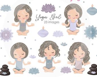 BUY5GET5 Brunette Yoga Girls Clipart, Meditation clipart, mandala clipart, lotus flower image, yoga illustration, mandala, Meditating Girl
