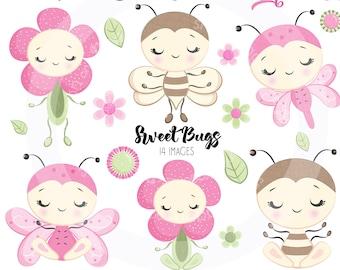 BUY5GET5 Sweet Bugs Clipart, Cute baby bugs digital clipart, butterfly clipart, baby bee image, baby bee clipart, cute flower clipart