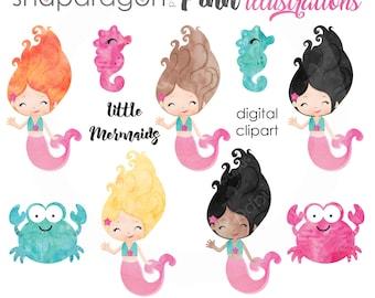 BUY5GET5 Mermaid Clipart, Watercolor mermaid digital clipart, watercolor mermaid graphic, cute mermaid, seahorse, crab,