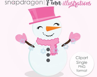 Snowman Clipart, snowman cute digital clipart, winter clipart, Christmas clipart, happy snowman with scarf, Commercial License Included