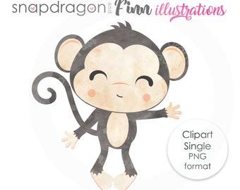 Monkey Boy Clipart, Watercolor monkey clip art, boy monkey illustration, cute boy monkey graphic, monkey waving, Commercial License Included