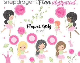 BUY5GET5 Flower Girls Clipart, Watercolor roses clipart, watercolor girls clipart, watercolor flowers, cute girl, rose garden clipart