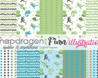 Reptile Digital Papers, Lizard Digital Papers, Snake Digital Papers, Boy Digital Papers, Chameleon Papers, Commercial License Included